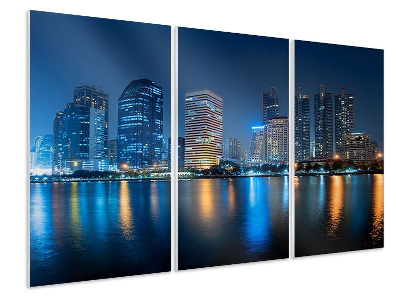 Hartschaumbild 3-teilig Skyline Bangkok bei Nacht