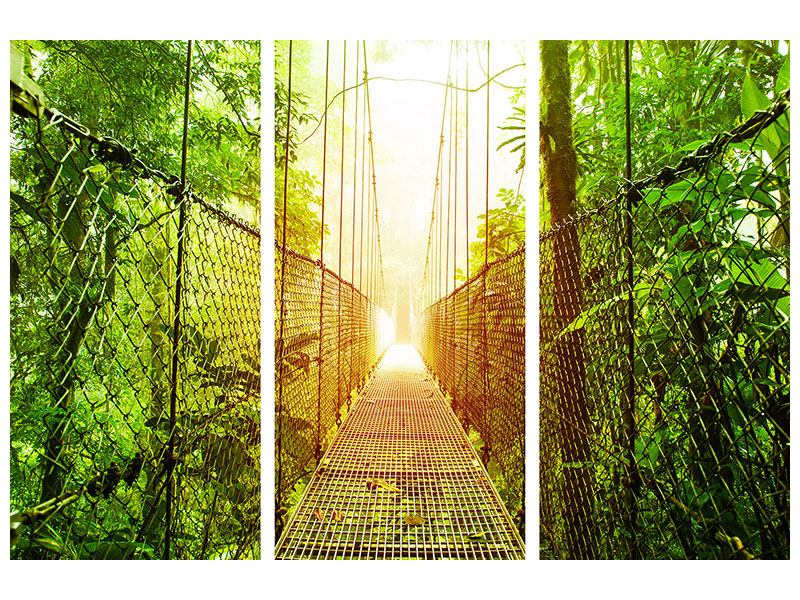 Hartschaumbild 3-teilig Hängebrücke