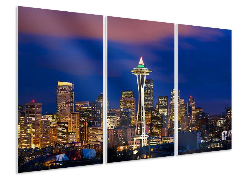 Hartschaumbild 3-teilig Skyline Seattle