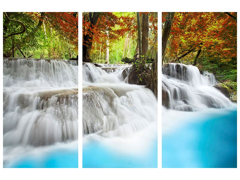 Hartschaumbild 3-teilig Erawan Wasserfall