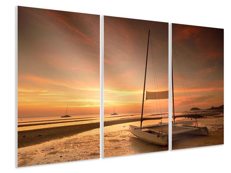 Hartschaumbild 3-teilig Sonnenuntergang am Strand
