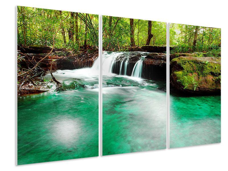 Hartschaumbild 3-teilig Der Fluss am Wasserfall