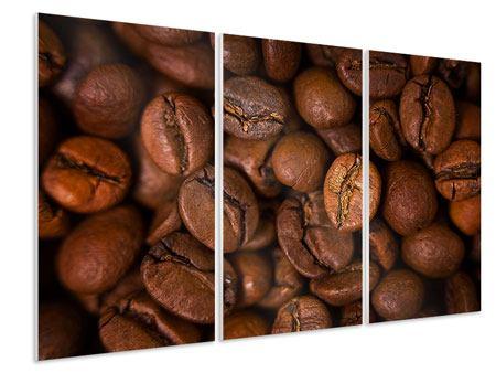 Hartschaumbild 3-teilig Close Up Kaffeebohnen