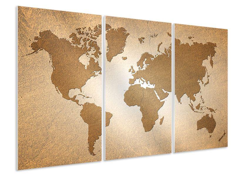 Hartschaumbild 3-teilig Karte der Welt in Vintage