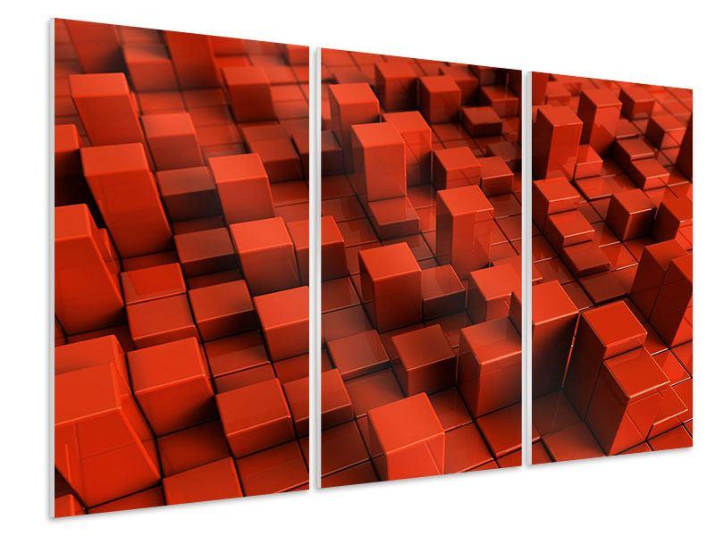 Hartschaumbild 3-teilig 3D-Rechtkant