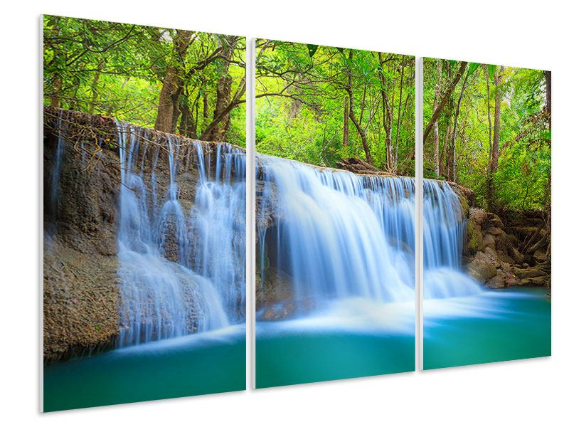 Hartschaumbild 3-teilig Wasserfall Si Nakharin