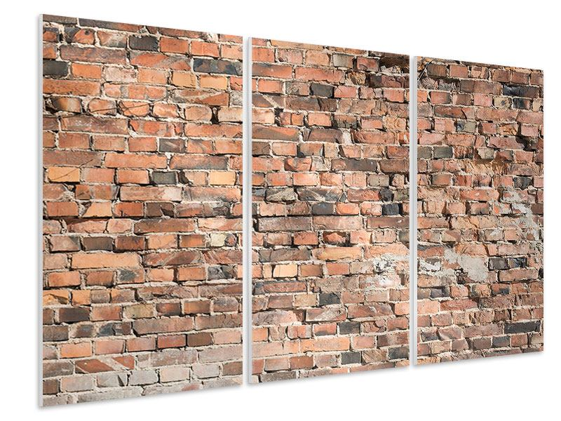 Hartschaumbild 3-teilig Alte Backsteinmauer
