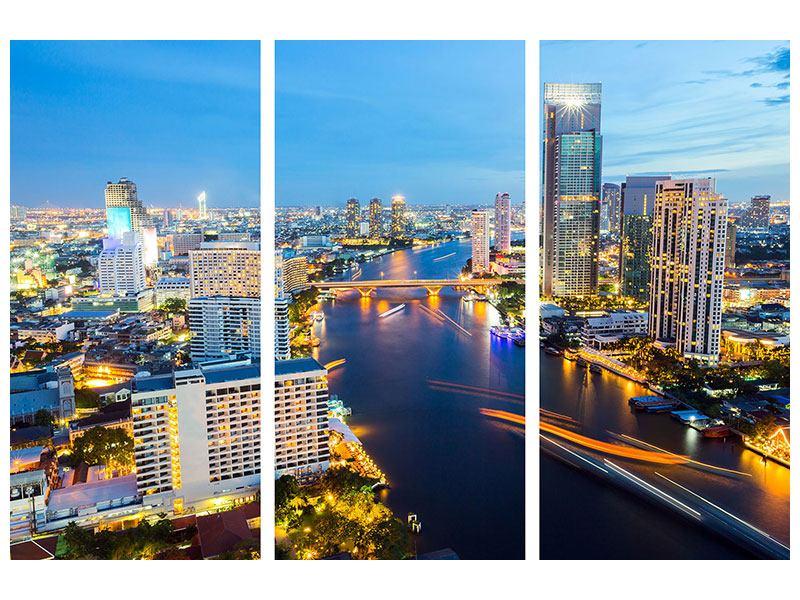 Hartschaumbild 3-teilig Skyline Bangkok bei Sonnenuntergang