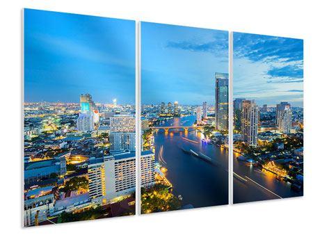Hartschaumbild 3-teilig Skyline Bangkok in der Abenddämmerung