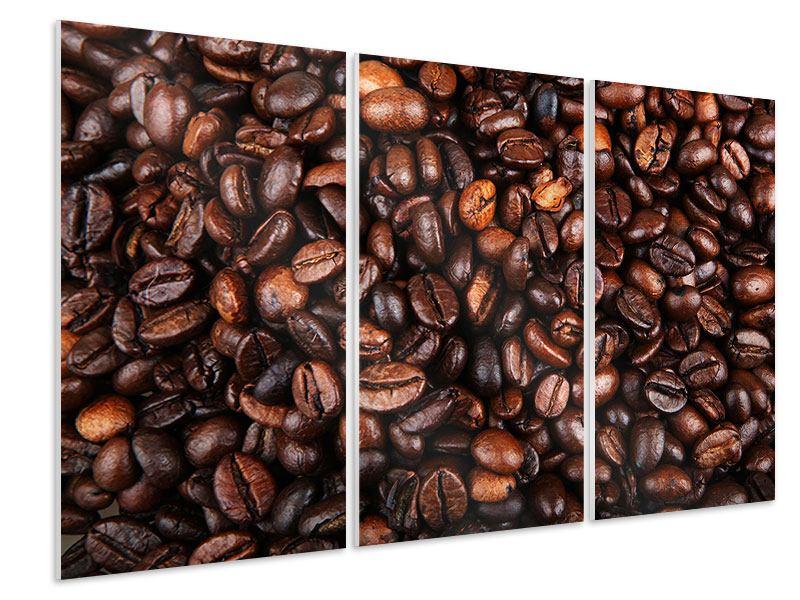 Hartschaumbild 3-teilig Kaffeebohnen in XXL