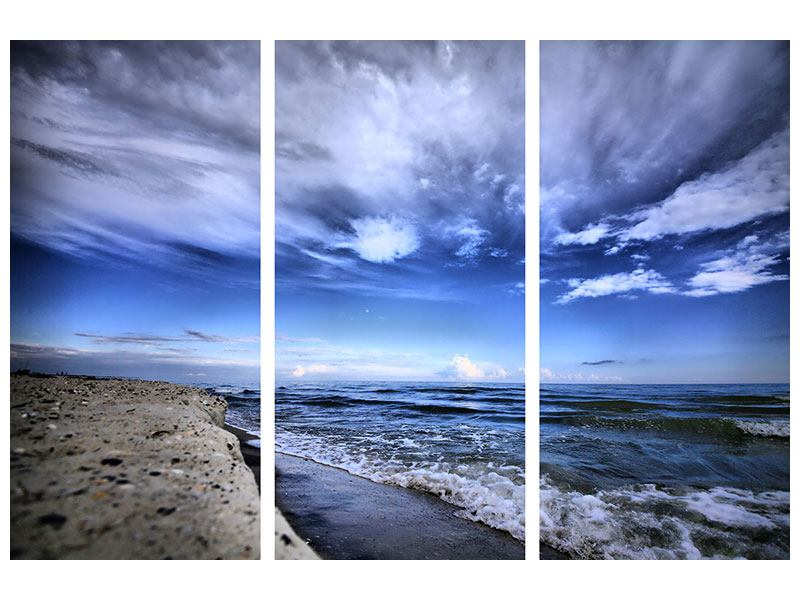 Hartschaumbild 3-teilig Strandwellen