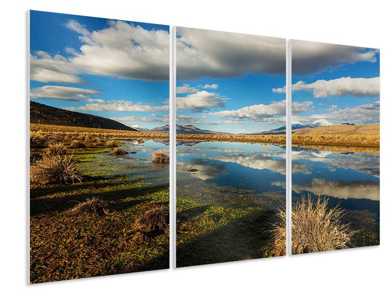 Hartschaumbild 3-teilig Wasserspiegelung am See