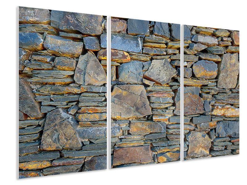 Hartschaumbild 3-teilig Natürliche Steinmauer