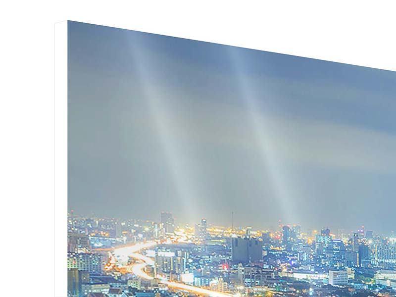 Hartschaumbild 3-teilig Skyline Bangkok im Fieber der Nacht