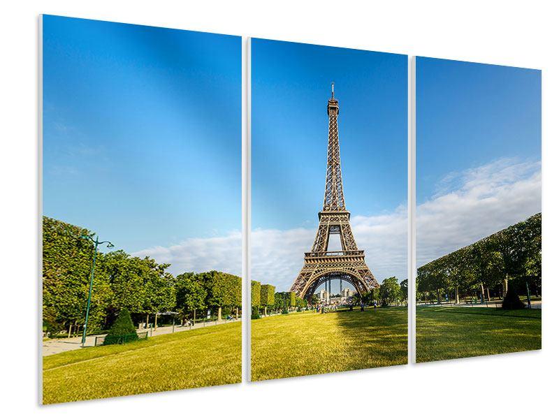 Hartschaumbild 3-teilig Der Eiffelturm in Paris