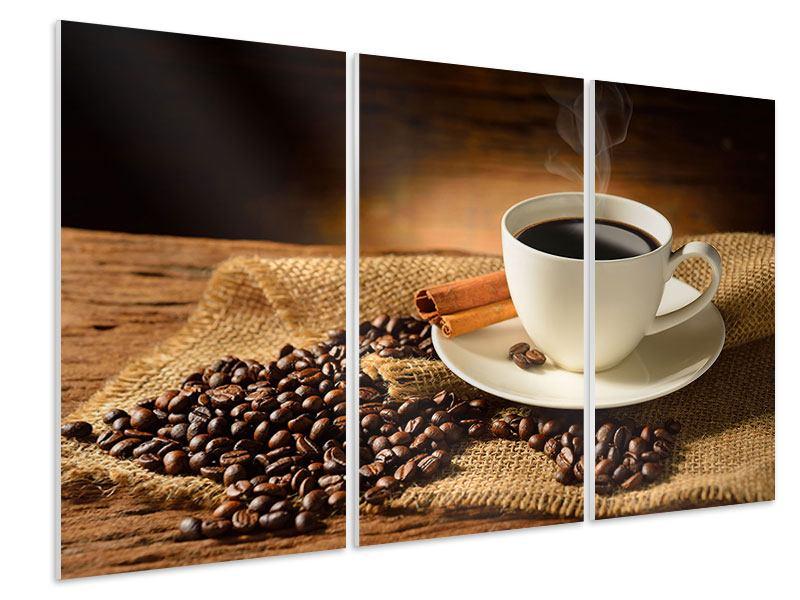 Hartschaumbild 3-teilig Kaffeepause
