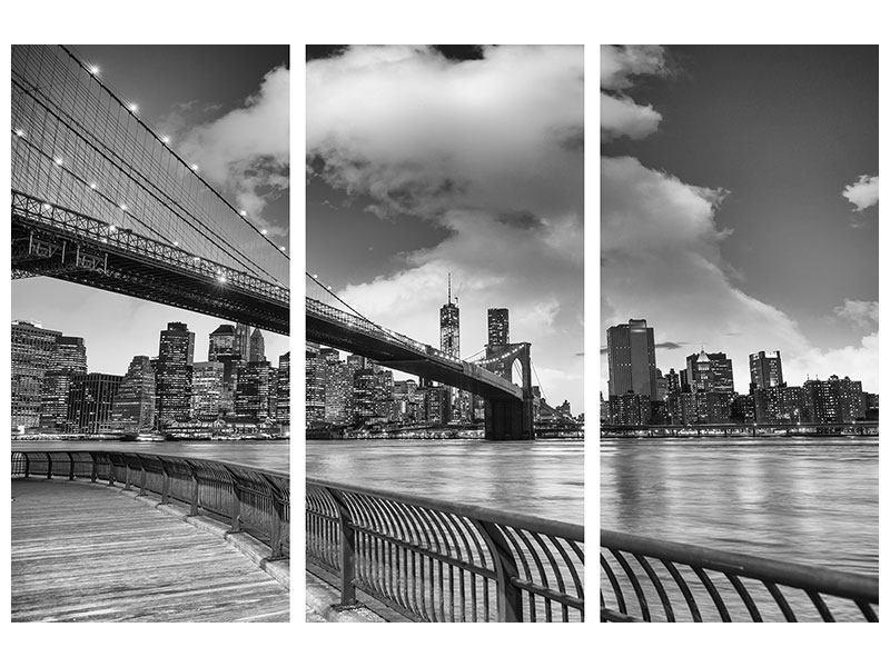 Hartschaumbild 3-teilig Skyline Schwarzweissfotografie Brooklyn Bridge NY