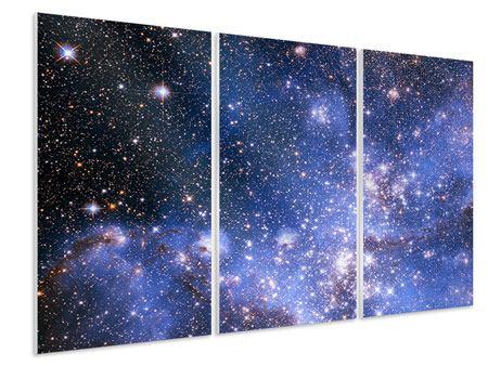 Hartschaumbild 3-teilig Sternenhimmel