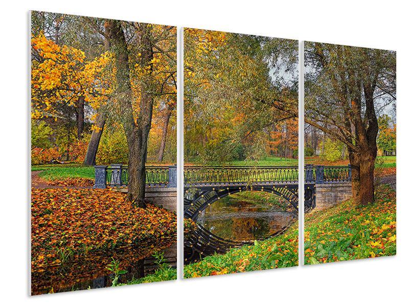 Hartschaumbild 3-teilig Romantischer Park