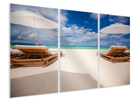 Hartschaumbild 3-teilig Liegen am Strand