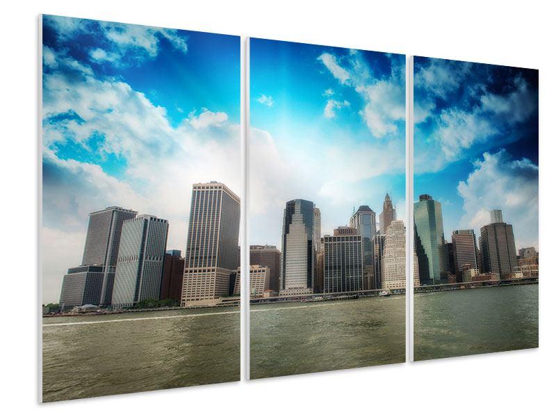 Hartschaumbild 3-teilig Skyline Lower Manhattan