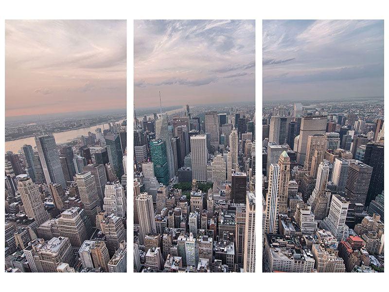 Hartschaumbild 3-teilig Skyline Blick über Manhattan