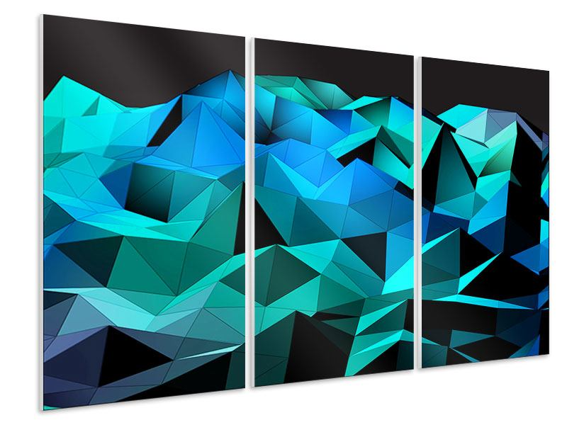 Hartschaumbild 3-teilig 3D-Diamonds
