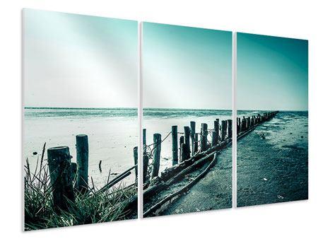Hartschaumbild 3-teilig Das Wattenmeer