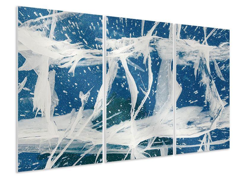 Hartschaumbild 3-teilig Eiskristalle