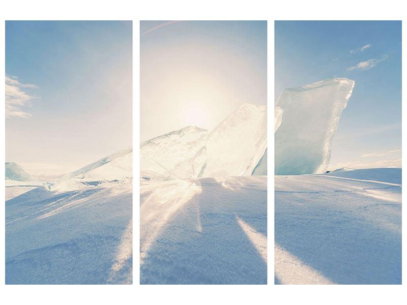 Hartschaumbild 3-teilig Eislandschaft