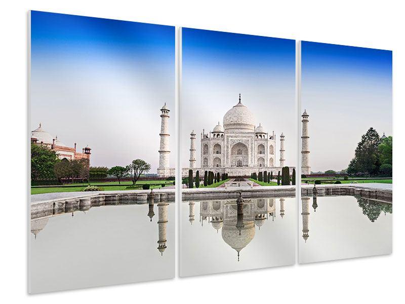 Hartschaumbild 3-teilig Taj Mahal