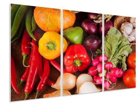 Hartschaumbild 3-teilig Gemüsefrische