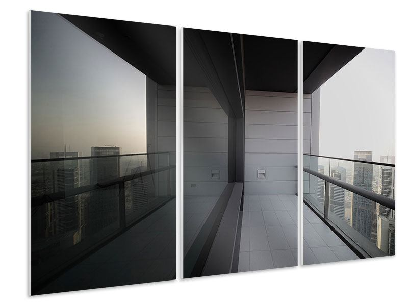 Hartschaumbild 3-teilig Balkon in Dubai