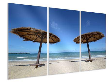 Hartschaumbild 3-teilig Umbrellas