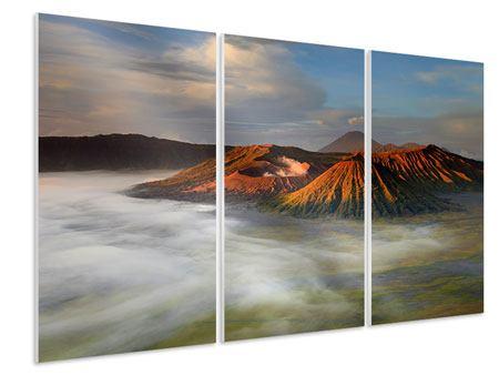 Hartschaumbild 3-teilig Der Bromo Vulkan