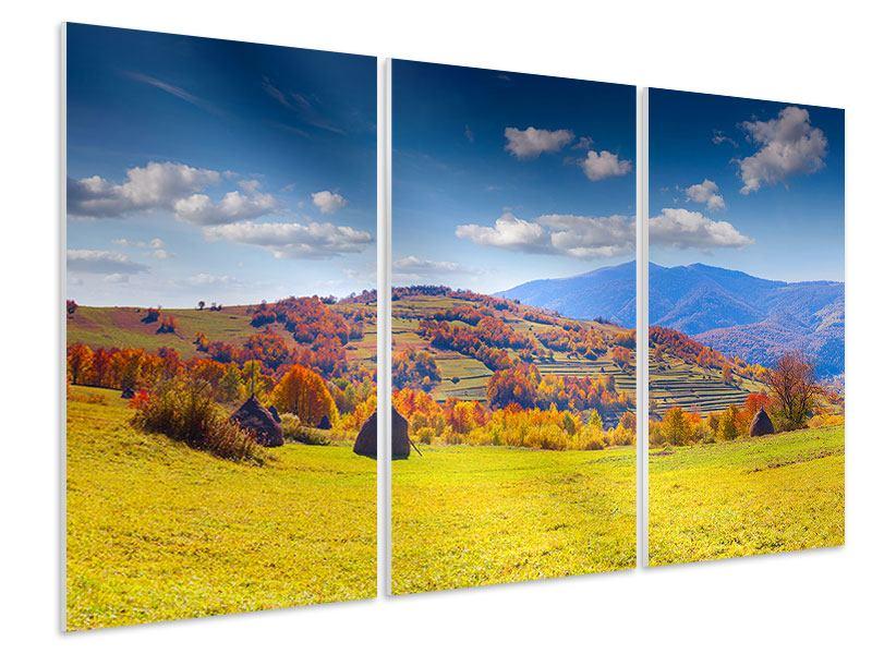 Hartschaumbild 3-teilig Herbstliche Berglandschaft