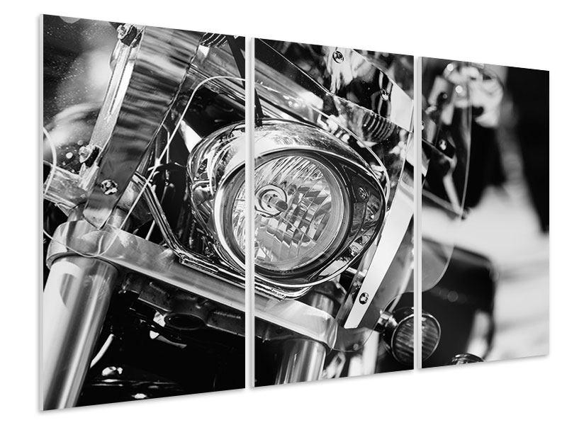 Hartschaumbild 3-teilig Motorrad Close Up