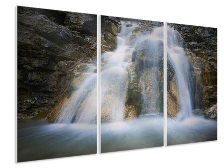 Hartschaumbild 3-teilig Imposanter Wasserfall