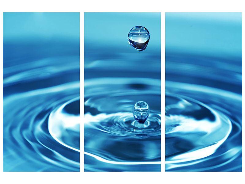 Hartschaumbild 3-teilig Der Wassertropfen