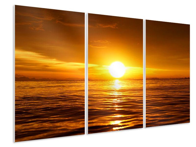 Hartschaumbild 3-teilig Glühender Sonnenuntergang am Wasser