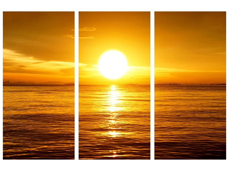 Hartschaumbild 3-teilig Traumhafter Sonnenuntergang