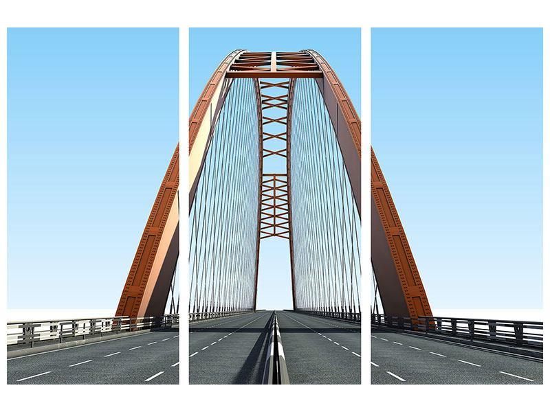 Hartschaumbild 3-teilig Brückenpanorama
