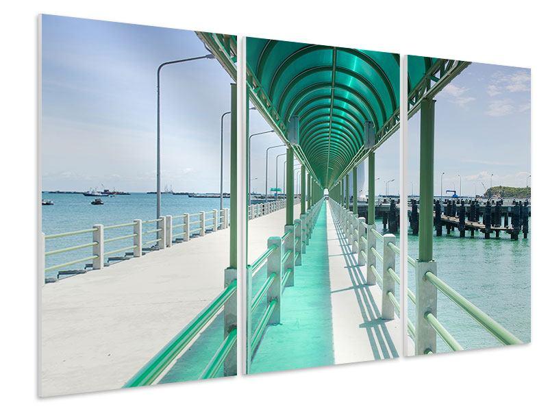 Hartschaumbild 3-teilig Die Brücke am Meer