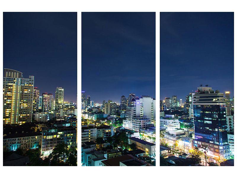 Hartschaumbild 3-teilig Skyline Nachts in Bangkok