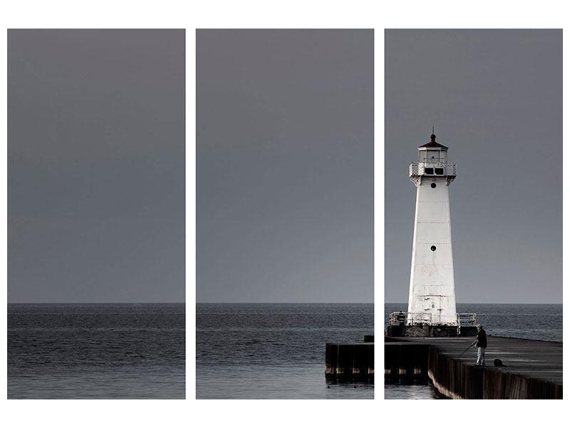 Hartschaumbild 3-teilig Der Leuchtturm bei Nacht