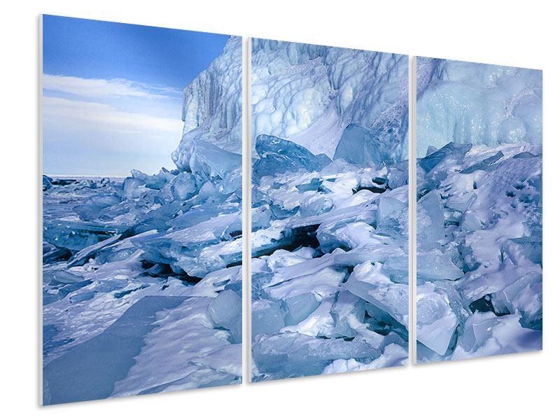 Hartschaumbild 3-teilig Eislandschaft Baikalsee