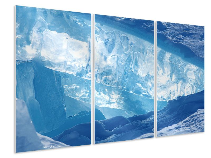 Hartschaumbild 3-teilig Baikalsee-Eis