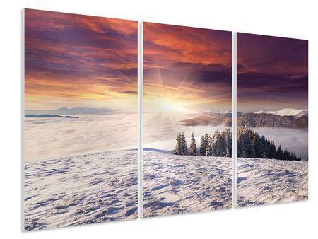 Hartschaumbild 3-teilig Sonnenaufgang Winterlandschaft
