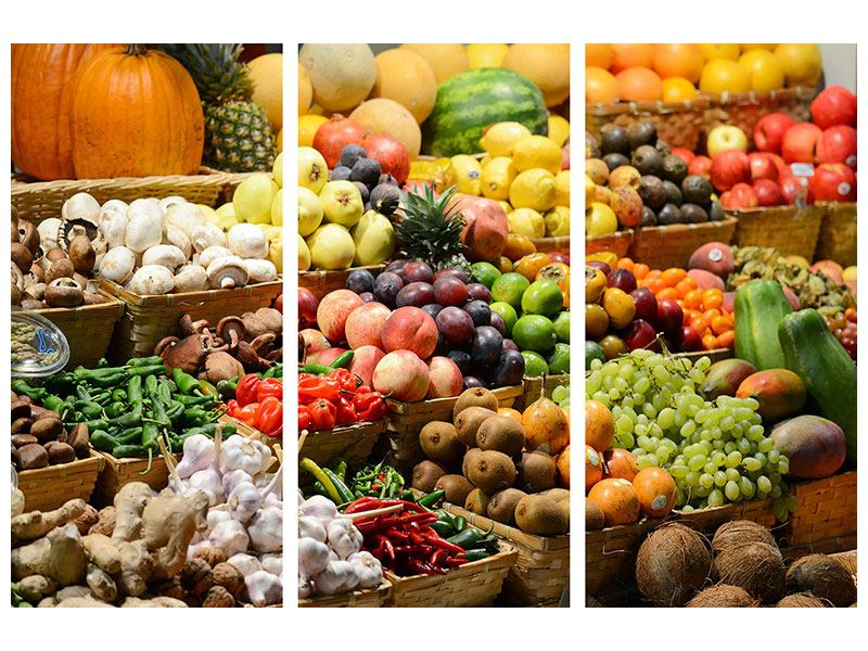 Hartschaumbild 3-teilig Obstmarkt