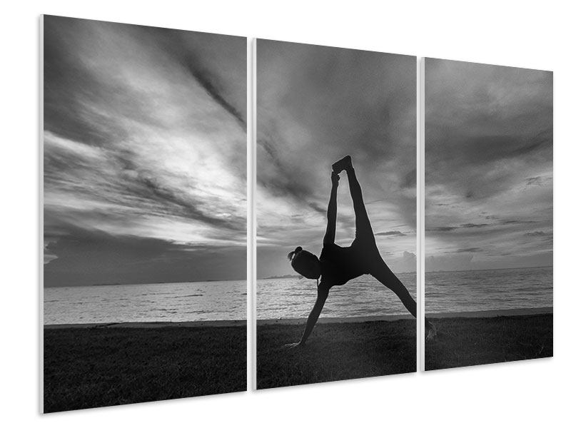 Hartschaumbild 3-teilig Yoga am Strand